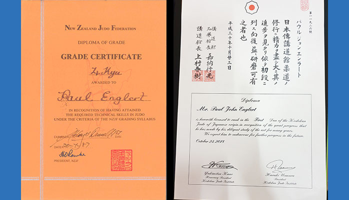 Paul Englert, Judo Certificates